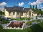 Проект просторного одноэтажного дома с гаражом и мансардой